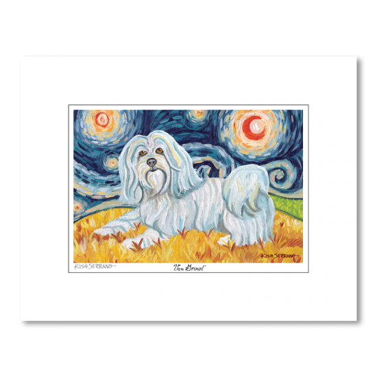 Havanese Starry Night Matted Print