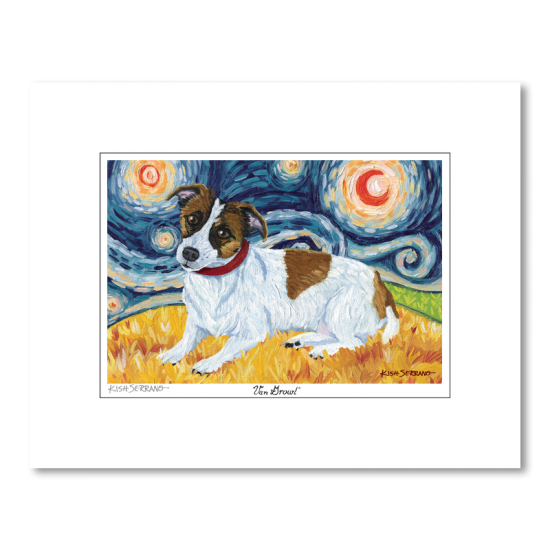 Jack Russell Starry Night Matted Print