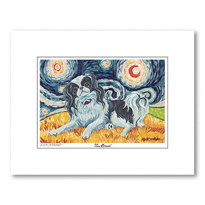 Japanese Chin Starry Night Matted Print