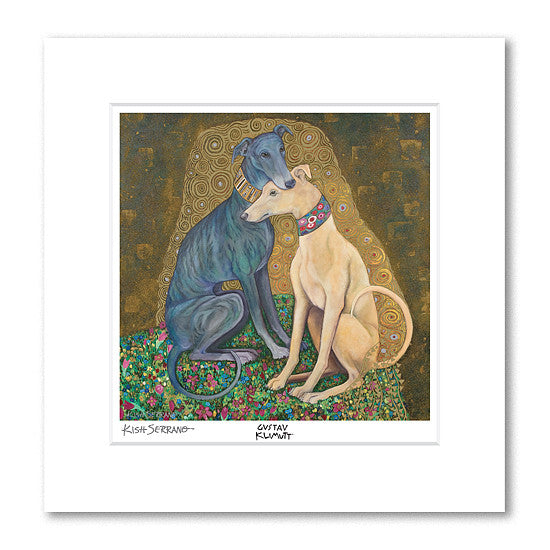Greyhound Kiss Matted Print