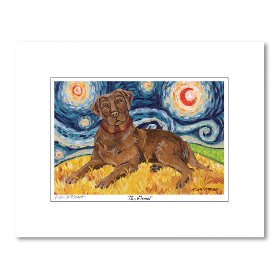 Labrador Chocolate Starry Night Matted Print