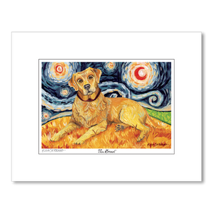 Labrador Yellow Starry Night Matted Print