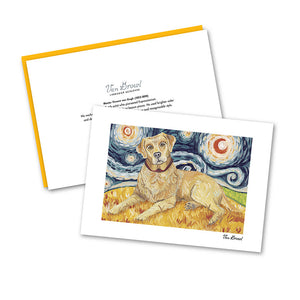 Labrador Yellow Starry Night Notecard Set