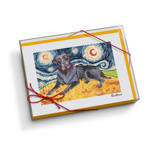 Labrador Black Starry Night Notecard Set