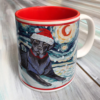 Labrador Black Holiday Starry Night Mug