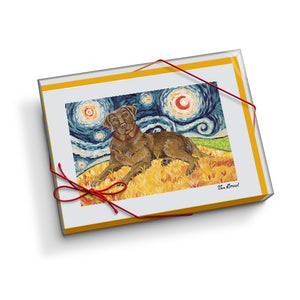 Labrador Chocolate Starry Night Notecard Set