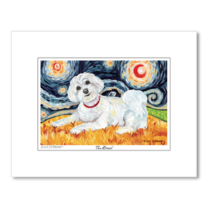 Maltese Starry Night Matted Print