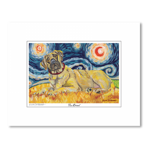 Mastiff Starry Night Matted Print
