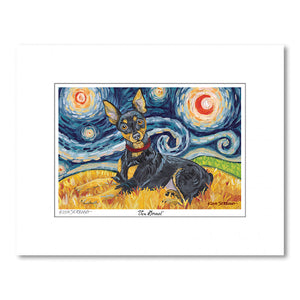 Miniature Pinscher Starry Night Matted Print