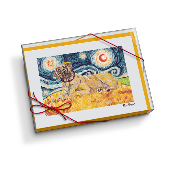 Mastiff Starry Night Notecard Set
