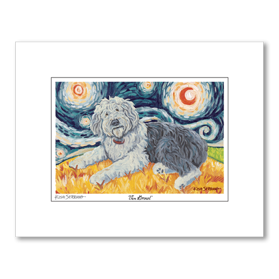 Old English Sheepdog Starry Night Matted Print