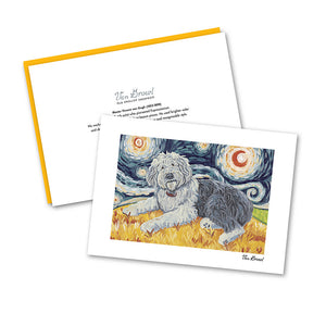 Old English Sheepdog Starry Night Notecard Set