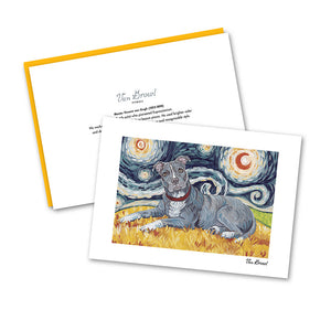 Pitbull Gray Starry Night Notecard Set