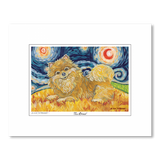 Pomeranian Starry Night Matted Print