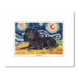 Poodle Black Starry Night Matted Print