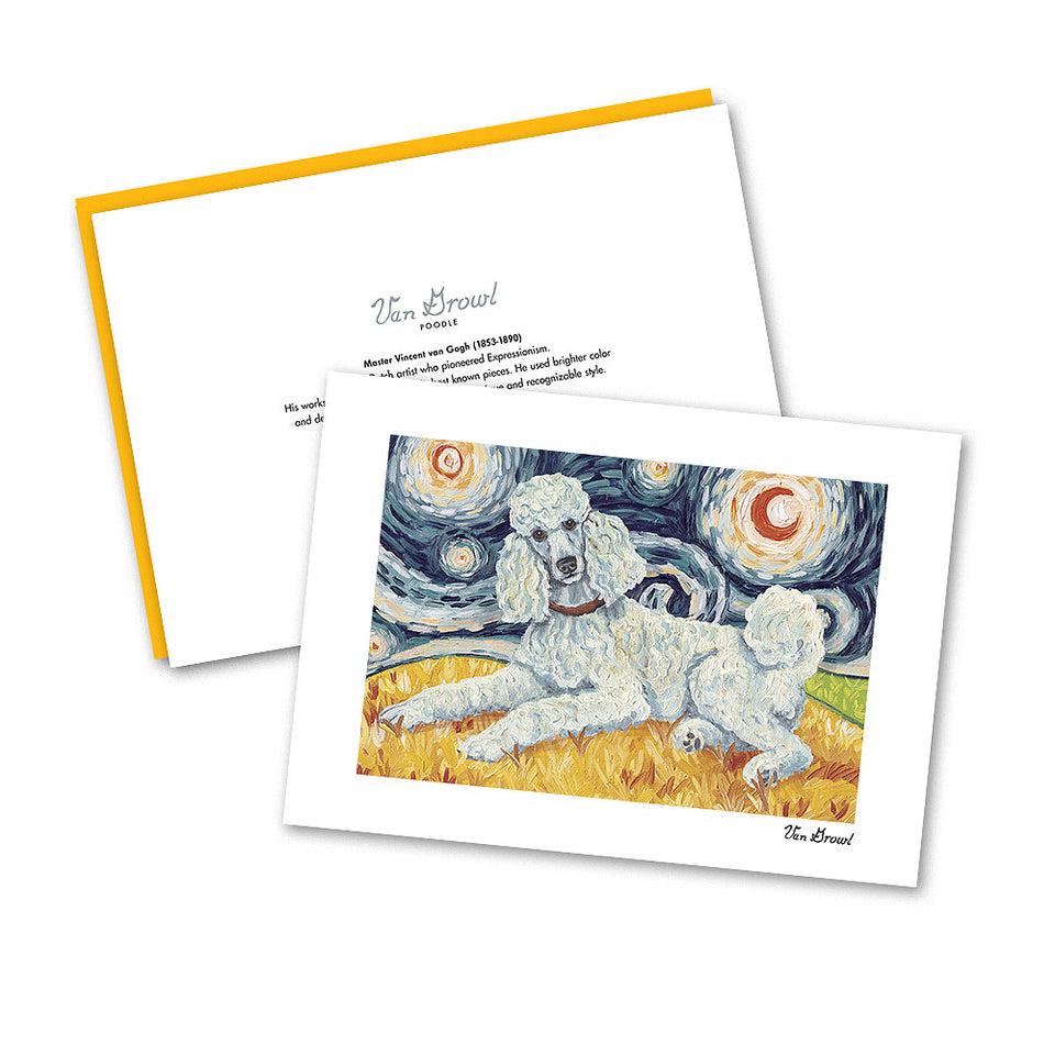 Poodle Standard White Starry Night Notecard Set