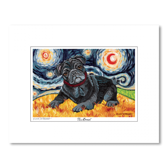 Pug Black Starry Night Matted Print