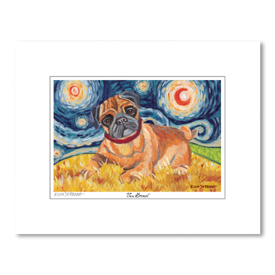 Pug Starry Night Matted Print
