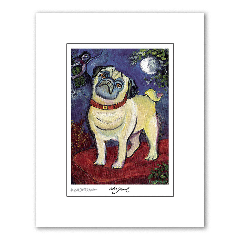 Pug Chagrowl Matted Print