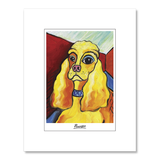 Cocker Spaniel Pawcasso Matted Print