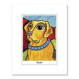Labrador Yellow Pawcasso Matted Print
