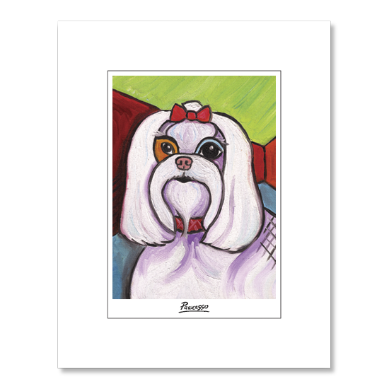 Maltese Pawcasso Matted Print