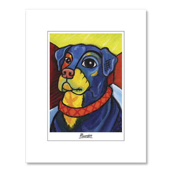 Rottweiler Pawcasso Matted Print