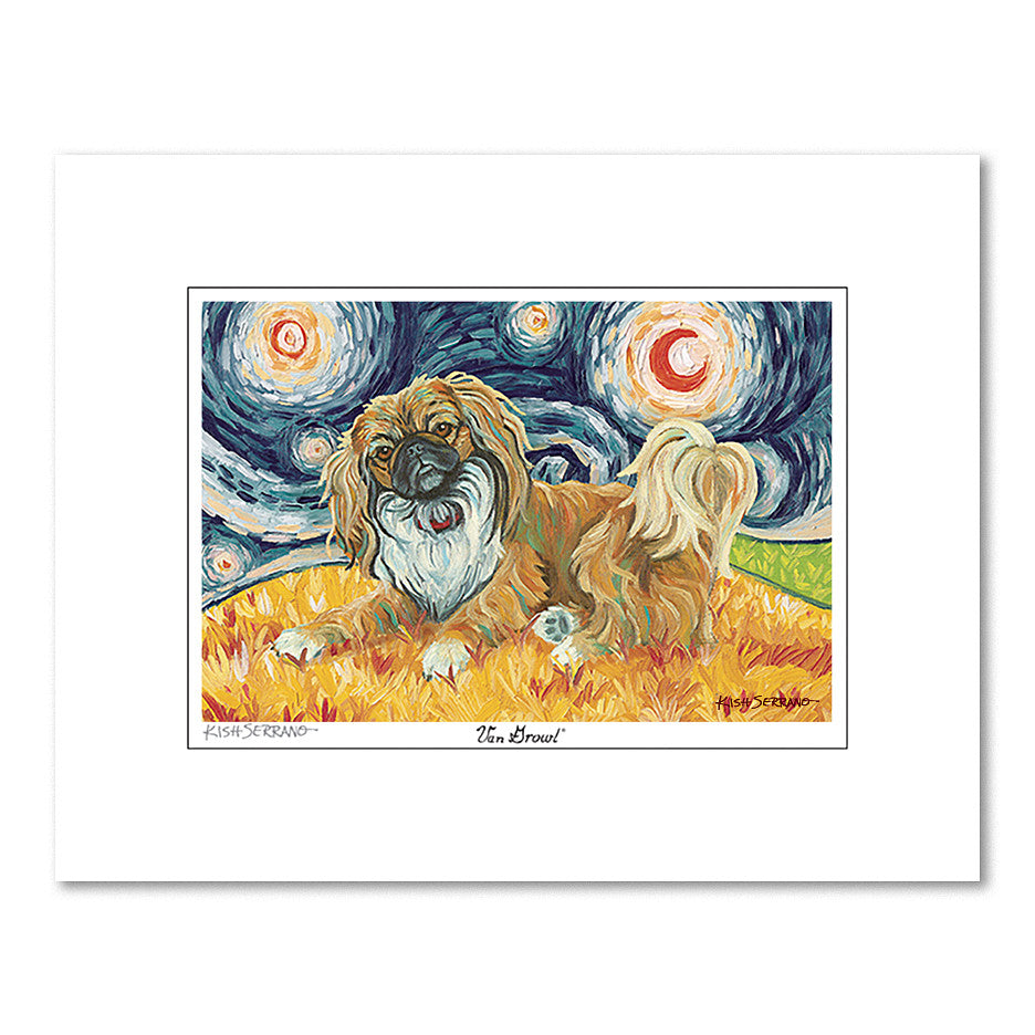 Pekingese Starry Night Matted Print