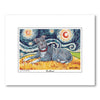 Pitbull Gray Starry Night Matted Print