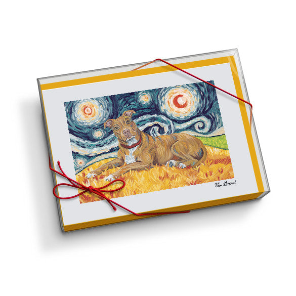Pitbull Tan Starry Night Notecard Set