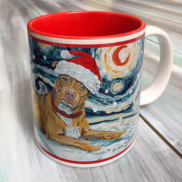 Pitbull Tan Holiday Starry Night Mug