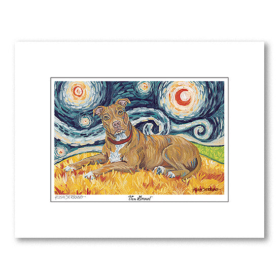Pitbull Tan Starry Night Matted Print