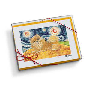 Pomeranian Starry Night Notecard Set