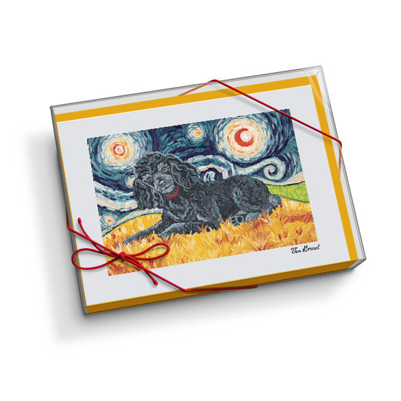 Poodle Black Starry Night Notecard Set
