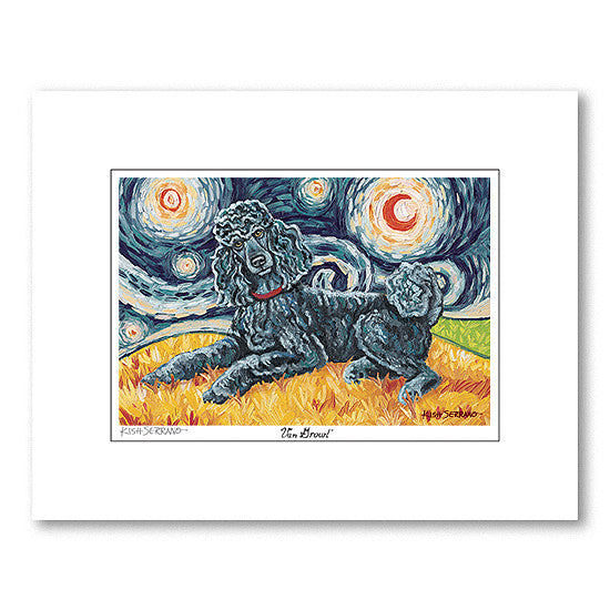 Poodle Standard Black Starry Night Matted Print