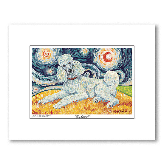 Poodle Standard White Starry Night Matted Print