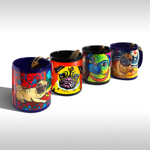 Pug Set of 4 Mixed Art Style Coffee Mugs