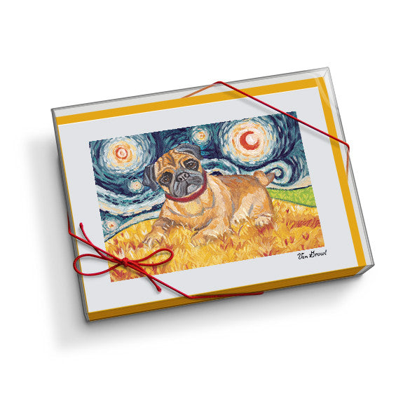 Pug Starry Night Notecard Set