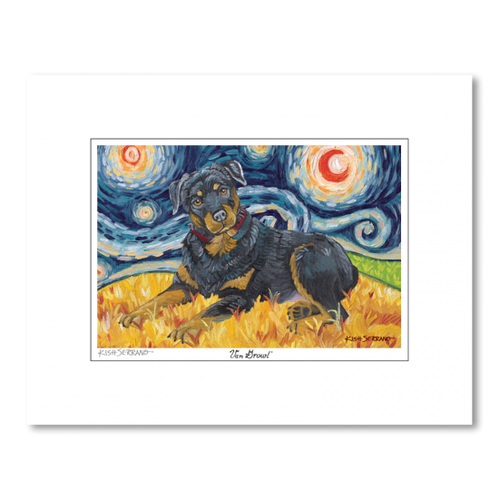 Rottweiler Starry Night Matted Print
