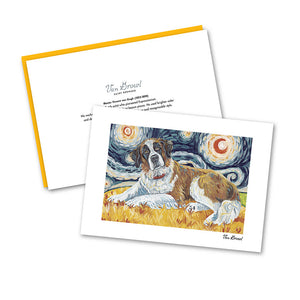 Saint Bernard Starry Night Notecard Set