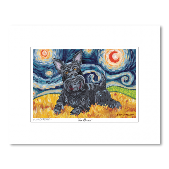 Scottish Terrier Starry Night Matted Print