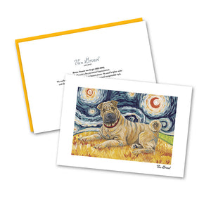 Shar Pei Starry Night Notecard Set