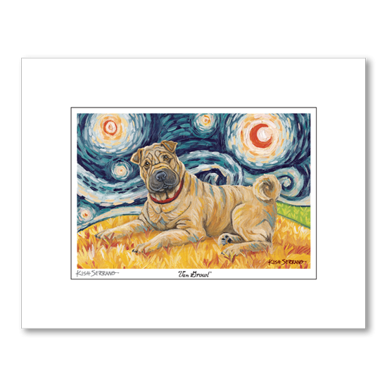Shar Pei Starry Night Matted Print