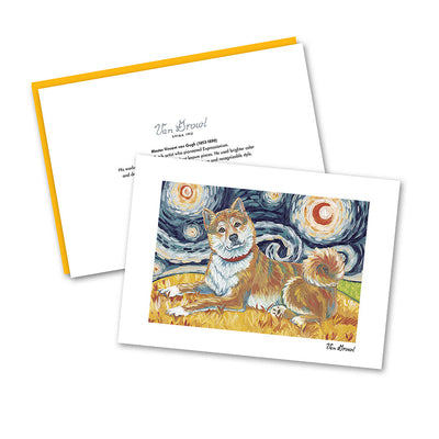 Shiba Inu Red Starry Night Notecard Set