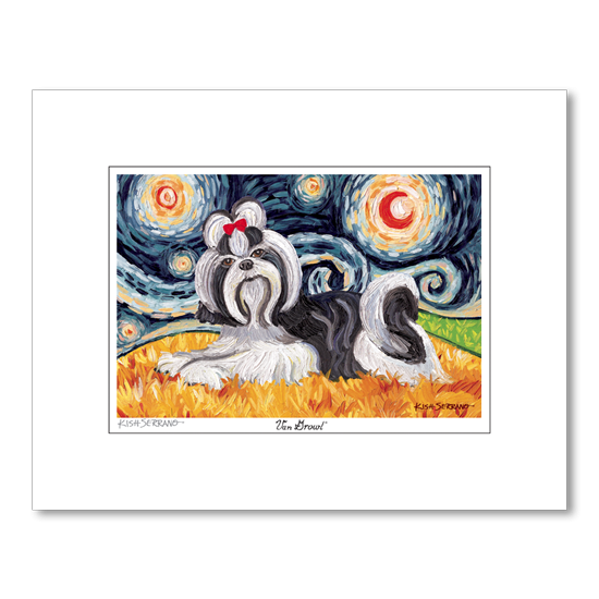 Shih Tzu Black and White Starry Night Matted Print
