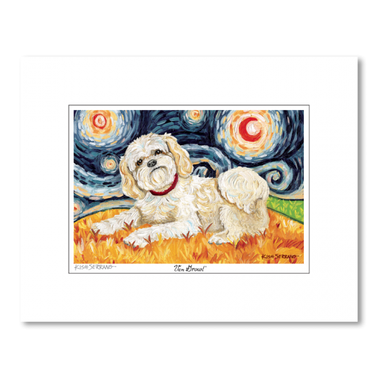 Shih Tzu Blonde Starry Night Matted Print