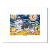 Siberian Husky Starry Night Matted Print