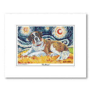 Saint Bernard Starry Night Matted Print