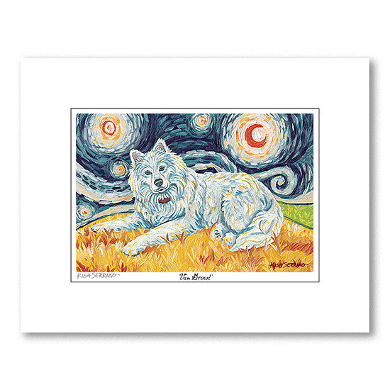 Samoyed Starry Night Matted Print
