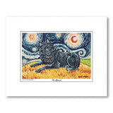 Schipperke Starry Night Matted Print